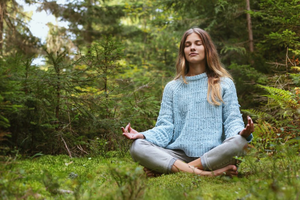 meditation_moss_forest_woman_bright_blue